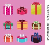 gift box set oval and heart... | Shutterstock .eps vector #475835791