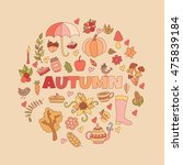 vector autumn doodles card.... | Shutterstock .eps vector #475839184