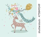 birthday card with deer | Shutterstock .eps vector #475849249