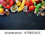 italian food ingredients.... | Shutterstock . vector #475851421