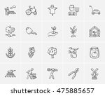 Agriculture Sketch Icon Set Fo...