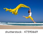 beautiful young woman jumping... | Shutterstock . vector #47590669