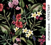 Stock photo seamless tropical flower pattern watercolor 475927069