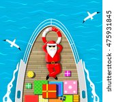 santa claus is swimming on a... | Shutterstock .eps vector #475931845