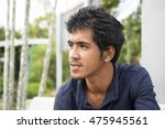portrait of asian man in blue... | Shutterstock . vector #475945561