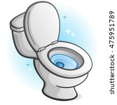 sparkling clean toilet cartoon... | Shutterstock .eps vector #475951789