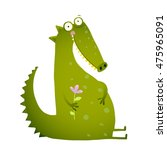 green cute kids crocodile... | Shutterstock .eps vector #475965091