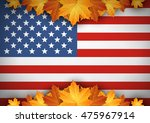 American Flag. Banner. Autumn...