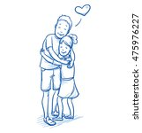 happy young boy hugging his...   Shutterstock .eps vector #475976227