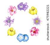 watercolor flowers wreath.... | Shutterstock . vector #475982221