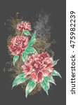 three roses vintage background... | Shutterstock . vector #475982239