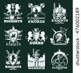 knights monochrome emblems with ... | Shutterstock .eps vector #476002189