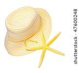 Yellow beach hat and starfish represent the perfect summer day. - stock photo