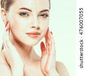 beautiful woman face close up... | Shutterstock . vector #476007055