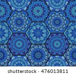 blue pattern. hex boho seamless ... | Shutterstock .eps vector #476013811
