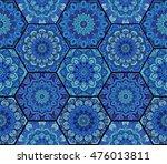 blue pattern. hex boho seamless ... | Shutterstock .eps vector #476013811