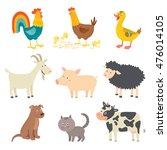 funny farm animals icon set.... | Shutterstock .eps vector #476014105