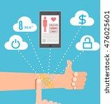 smart tattoo. hand as a... | Shutterstock .eps vector #476025601