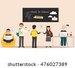 happy pupil characters. cute... | Shutterstock .eps vector #476027389
