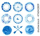 watercolor blue circle frames... | Shutterstock .eps vector #476042809