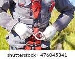 worker climber preparing for... | Shutterstock . vector #476045341
