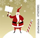 Santa Claus standing on a snow mountain with a gift on his right hand and a blank comic balloon. - stock vector