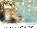 christmas lantern with... | Shutterstock . vector #476062885