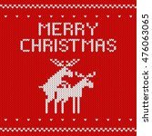 knitted red christmas... | Shutterstock .eps vector #476063065