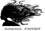 profile silhouette   woman with ... | Shutterstock .eps vector #476093839