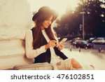 young beauty woman travel ... | Shutterstock . vector #476102851