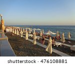 People relax on the beach on the Black Sea resort of Sochi, Russia, August 8, 2016 - stock photo