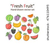 fruit set isolated on a white... | Shutterstock . vector #476110495