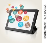 tablet with educational icons ... | Shutterstock .eps vector #476127061
