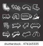 set of arrow doodle on... | Shutterstock .eps vector #476165335