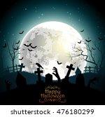 halloween background with... | Shutterstock . vector #476180299