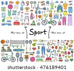 vector set with hand drawn... | Shutterstock .eps vector #476189401