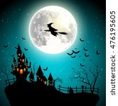 halloween background with... | Shutterstock .eps vector #476195605