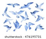 Abstract Flying Bird Set With...