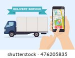 delivery service app on mobile... | Shutterstock .eps vector #476205835