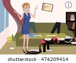 woman at messy room | Shutterstock .eps vector #476209414