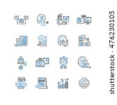 set of thin line business icons