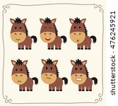 Set Of Cute Horse In Different...