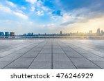 Empty Brick Floor With City...