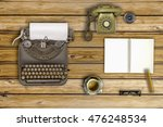 vintage typewriter and coffee... | Shutterstock . vector #476248534