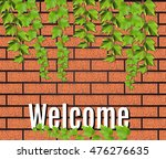 brown brick wall realistic with ... | Shutterstock .eps vector #476276635
