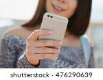 young girl using dual camera... | Shutterstock . vector #476290639