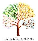 hand painted watercolor tree...   Shutterstock . vector #476309635