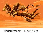 indian god hanuman flying with... | Shutterstock .eps vector #476314975