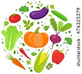 set of colorful vegetables in... | Shutterstock . vector #476325379