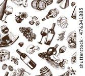 vector illustration sketch wine ... | Shutterstock .eps vector #476341885